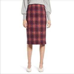 NWOT HALOGEN Plaid Tweed Pencil Skirt